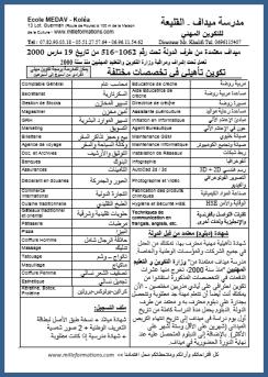قائمة تكوين مهني مدرسة ميداف القليعة